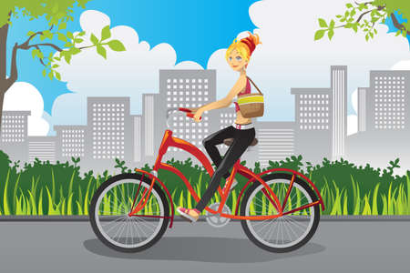 A vector illustration of a woman riding a bike in a park in the city Illusztráció