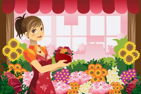 꽃 가게에서 꽃 냄비를 들고 꽃집 여자의 벡터 일러스트 일러스트