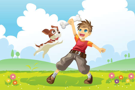 dog leash: A vector illustration of a boy and his dog playing in the park