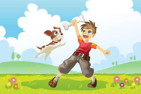 perro caricatura: Una ilustración vectorial de un niño y su perro jugando en el parque