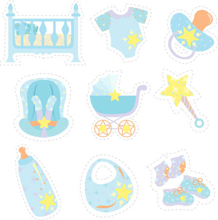 A vector illustration of baby items icons Vector
