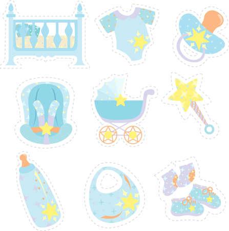 Una ilustración vectorial de artículos de bebé iconos