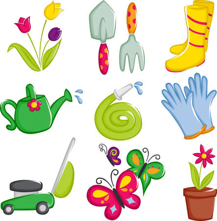 regando el jardin: Una ilustraci�n vectorial de los iconos de la jardiner�a de primavera