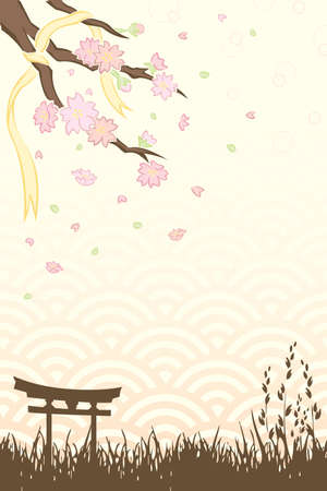 A vector illustration of Spring cherry blossoms background