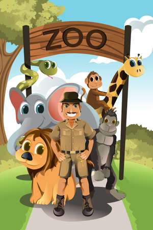 A vector illustration of a zookeeper and wild animals in the zoo Çizim