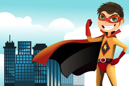A vector illustration of a superhero boy in the city