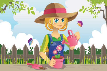 watering pot: A vector illustration of a woman doing gardening