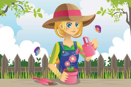 Een vector illustratie van een vrouw die het tuinieren