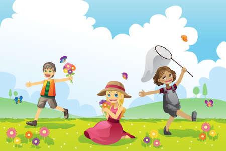 Een vector illustratie van de kinderen met plezier bij het spelen buiten in het voorjaar seizoen
