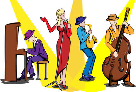 A vector illustration of a jazz ensemble performing Ilustrace