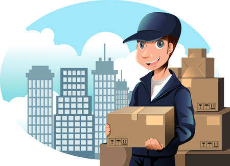 A vector illustration of a delivery man holding a package Vettoriali