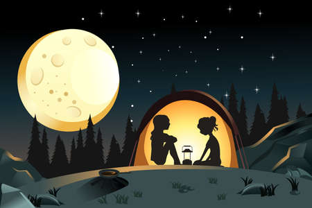 A vector illustration of two girls camping in the wilderness Çizim