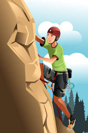 climbing mountain: A vector illustration of a rock climber