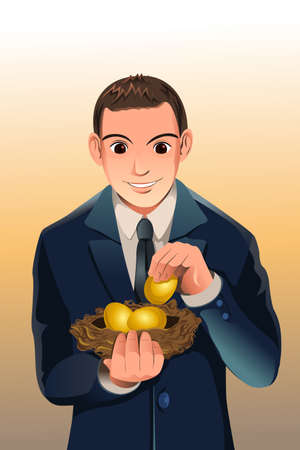 A vector illustration of a businessman holding a egg nest, a concept of financial savings Ilustrace