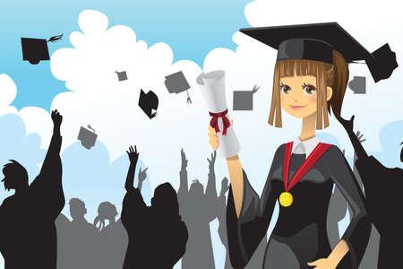 Una ilustración vectorial de una niña de la celebración de su diploma de graduación con sus amigos en el fondo