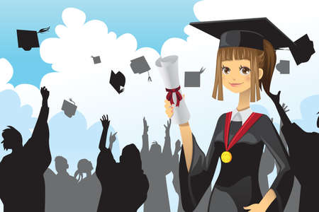 licenciatura: Una ilustración vectorial de una niña de la celebración de su diploma de graduación con sus amigos en el fondo
