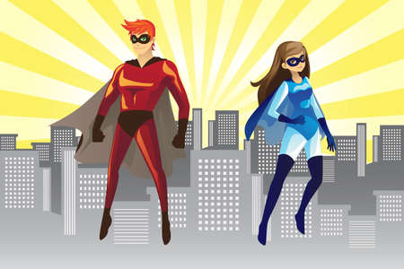 A vector illustration of of a male and female superheroes Vector