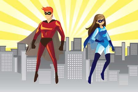 Een vector afbeelding van een mannelijke en vrouwelijke superhelden Stock Illustratie