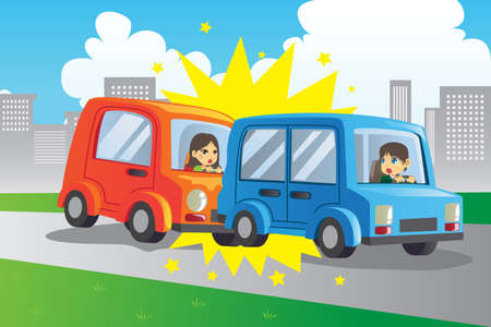 A vector illustration of two cars in an accident Vector
