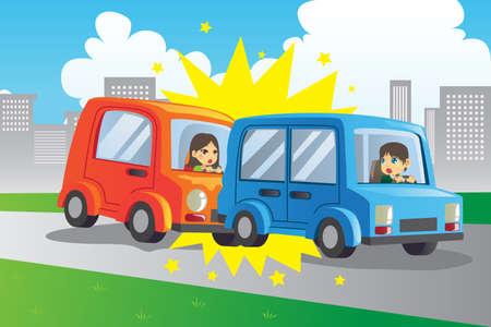 chauffeurs: Une illustration de vecteur de deux voitures dans un accident Illustration