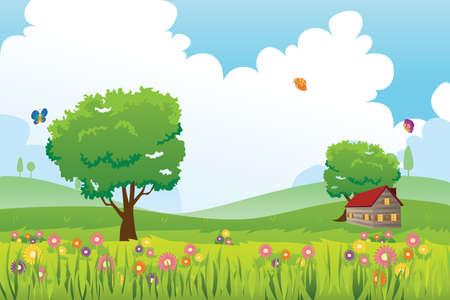 봄 시즌의 자연 풍경의 벡터 일러스트