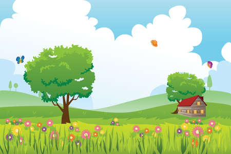 A vector illustration of Spring season nature landscape