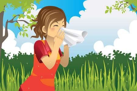 estornudo: Una ilustración vectorial de una mujer de estornudar al aire libre
