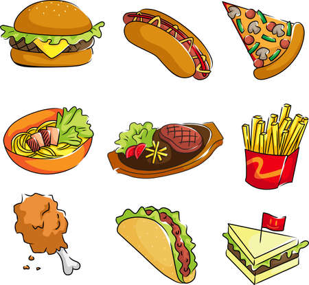 A vector illustration of fast food icons Çizim