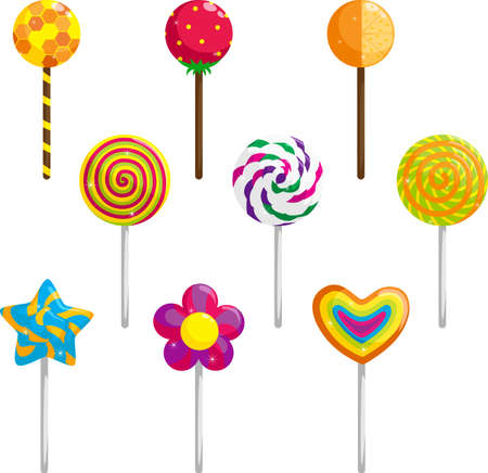 A vector illustration of different designs of lollipops