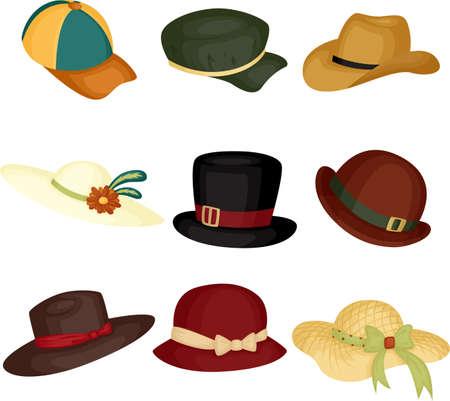 cappello cowboy: Una illustrazione vettoriale di diversi tipi di cappelli