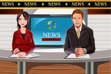Una ilustración vectorial de presentadores de noticias televisivas