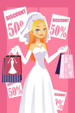 discounts: A vector illustration of a bride carrying shopping bags