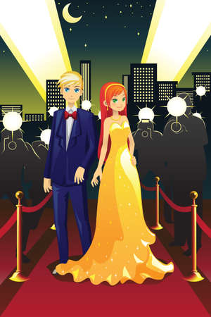 A vector illustration of a couple celebrities on the red carpet Vector