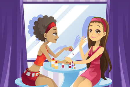 A vector illustration of a beautiful girl getting a manicure at a beauty salon Çizim