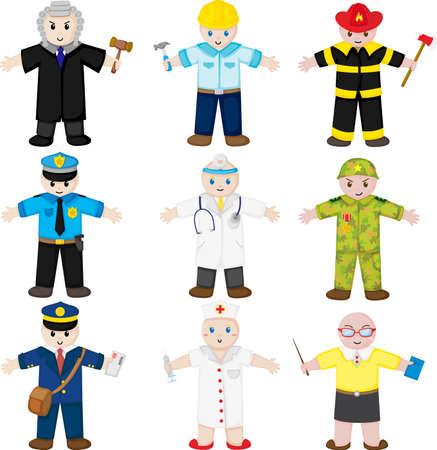 trabajos: Una ilustraci�n vectorial de los iconos de las personas con diferentes ocupaciones Vectores