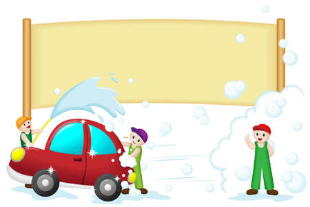 A vector illustration of a car wash banner
