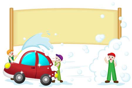 autolavaggio: Una illustrazione vettoriale di un banner autolavaggio Vettoriali