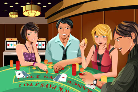 card game: A vector illustration of people gambling in a casino Illustration