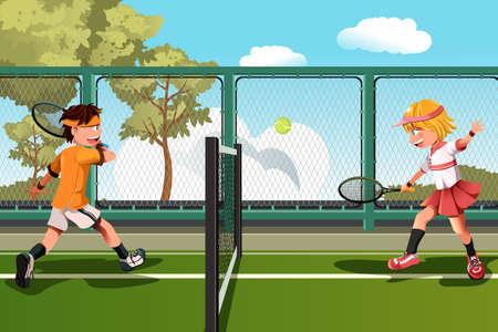 jugando tenis: Una ilustración vectorial de dos niños jugando al tenis