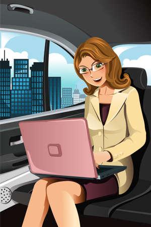 dolgozó: A vektoros illusztráció egy üzletasszony dolgozik az autóban Illusztráció