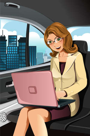 A vector illustration of a businesswoman working in the car Vectores