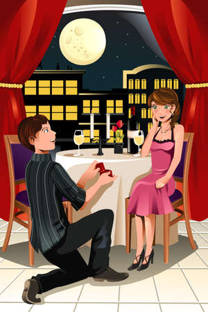 A vector illustration of a girl getting a marriage proposal from her boyfriend in a restaurant Vectores
