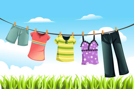 clothes hanging: A vector illustration of clothes drying outdoor