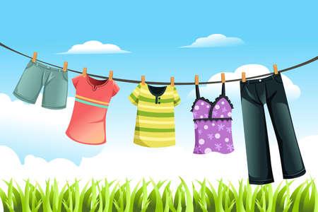 Una ilustración vectorial de secado de la ropa al aire libre