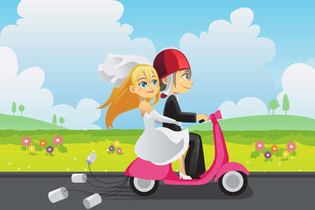 A vector illustration of a bride and a groom riding a scooter