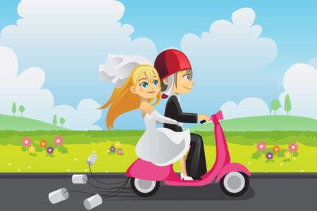 Een vector illustratie van een bruid en een bruidegom het berijden van een scooter