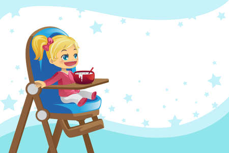 A vector illustration of a child eating in the high chair
