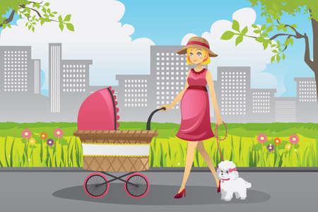 공원에서 그녀의 강아지와 함께 유모차 산책을 추진하는 아름 다운 임신 한 여자의 벡터 일러스트