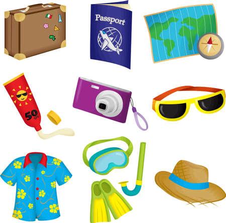 snorkel: Een vector illustratie van de zomer reizen iconen