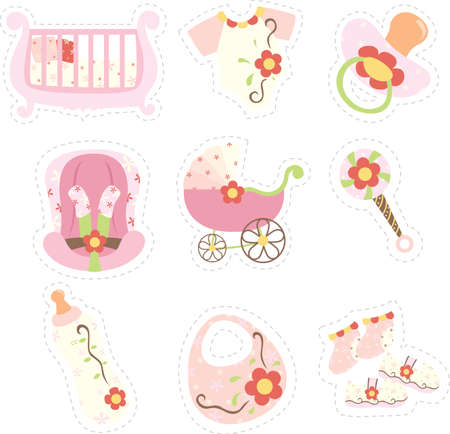 teteros: Una ilustración vectorial de bebé iconos de los elementos niña
